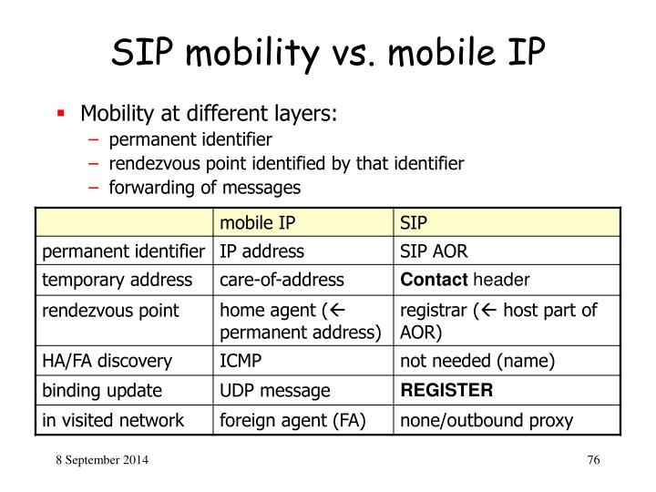 SIP mobility vs. mobile IP