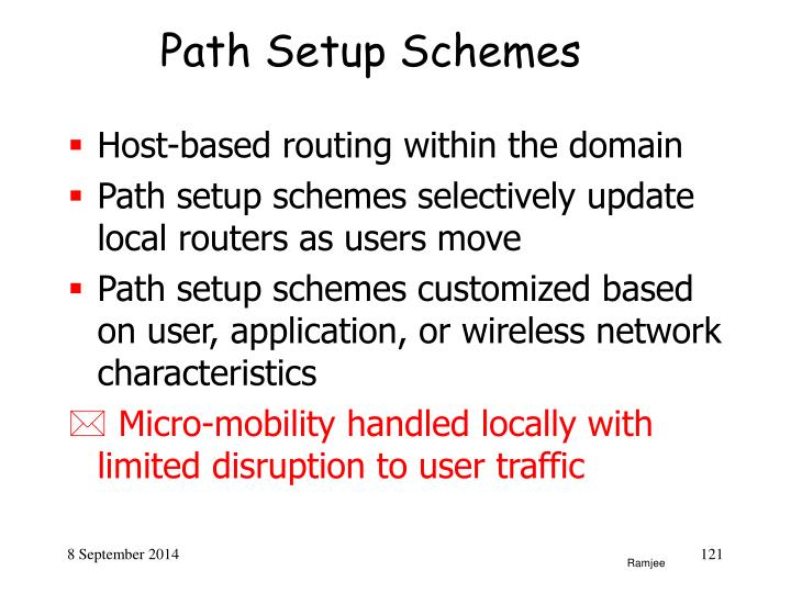 Path Setup Schemes