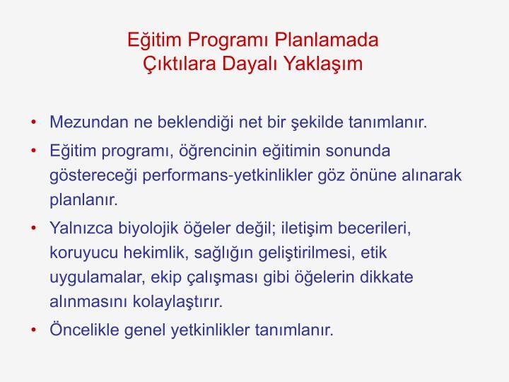 Eğitim Programı Planlamada