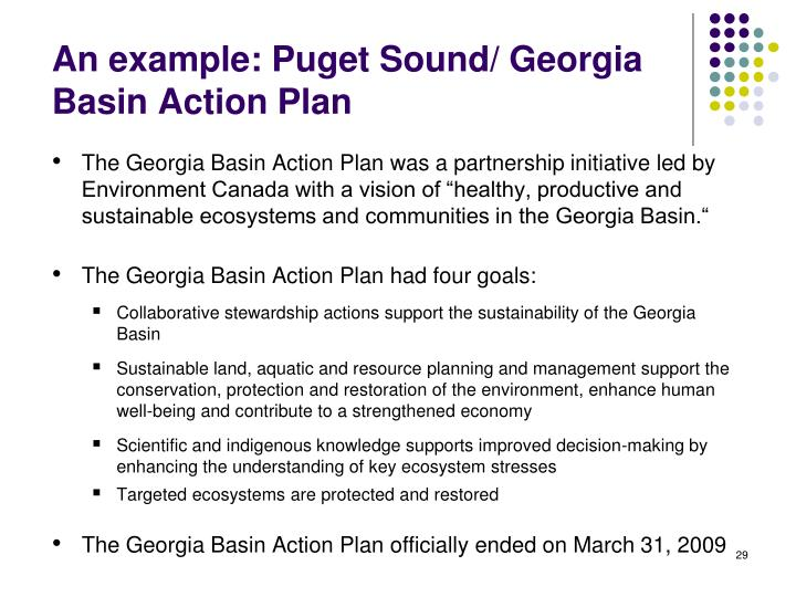 An example: Puget Sound/ Georgia Basin Action Plan