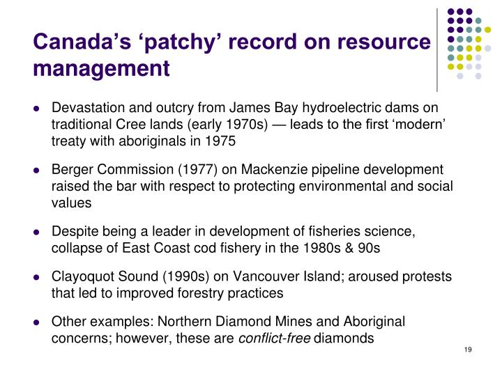 Canada's 'patchy' record on resource management