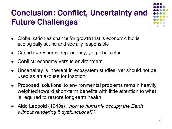 Conclusion: Conflict, Uncertainty and Future Challenges