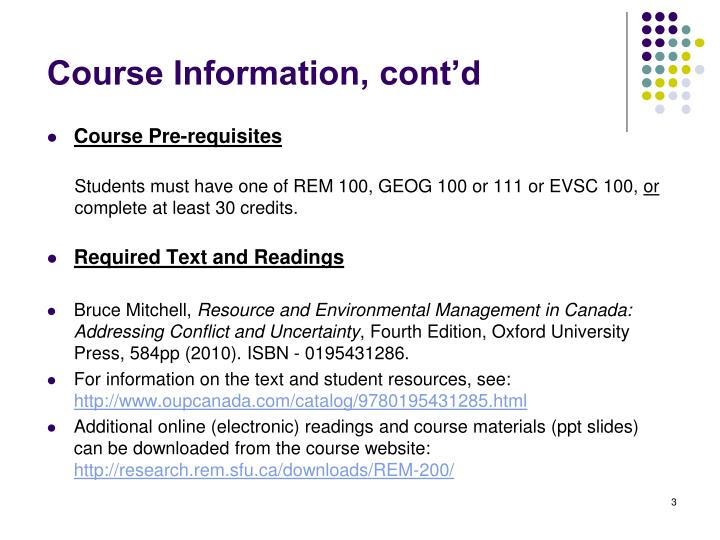 Course information cont d