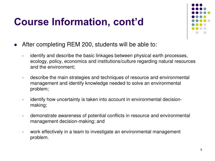 Course Information, cont'd