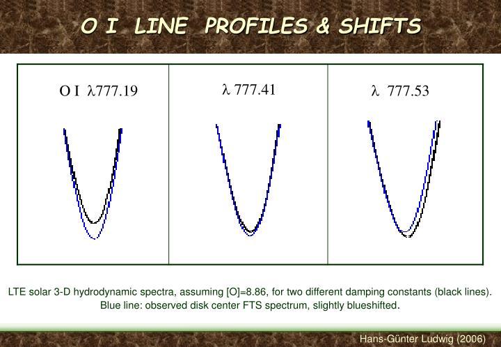 O I  LINE  PROFILES & SHIFTS
