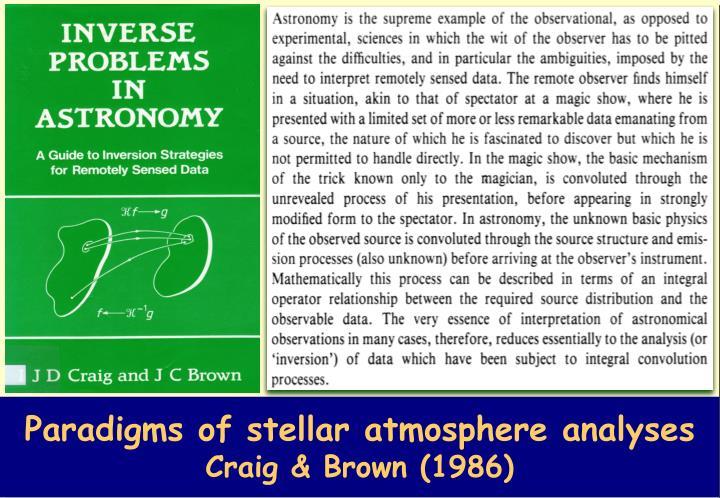 Paradigms of stellar atmosphere analyses