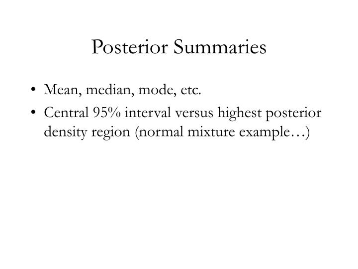 Posterior Summaries