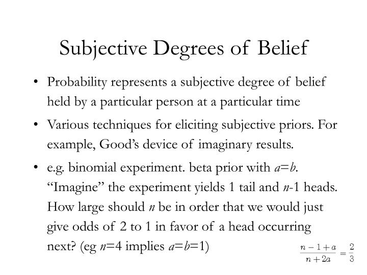 Subjective Degrees of Belief