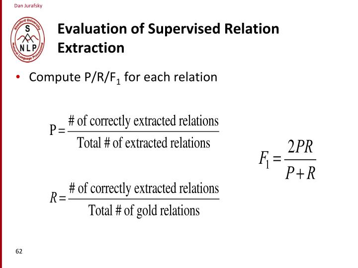 Evaluation of Supervised Relation Extraction