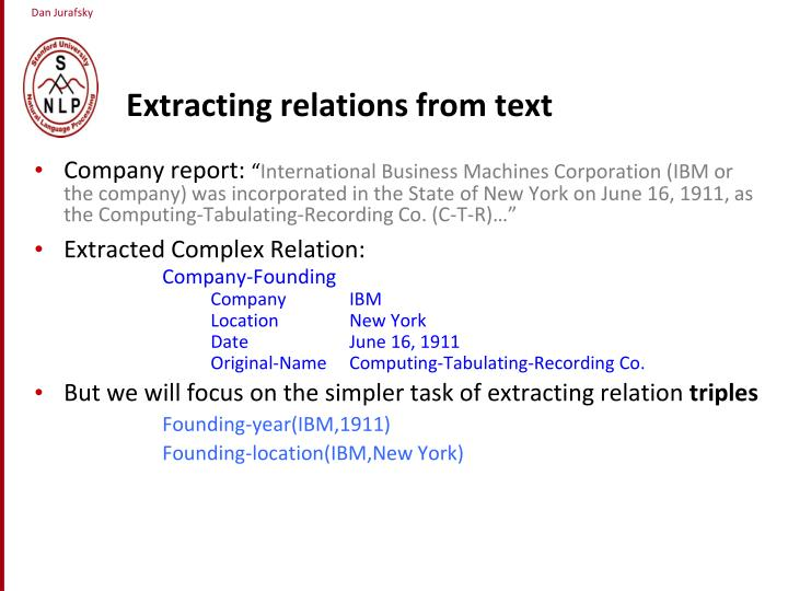 Extracting relations from text