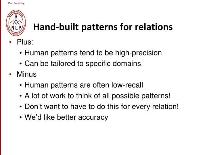 Hand-built patterns for relations