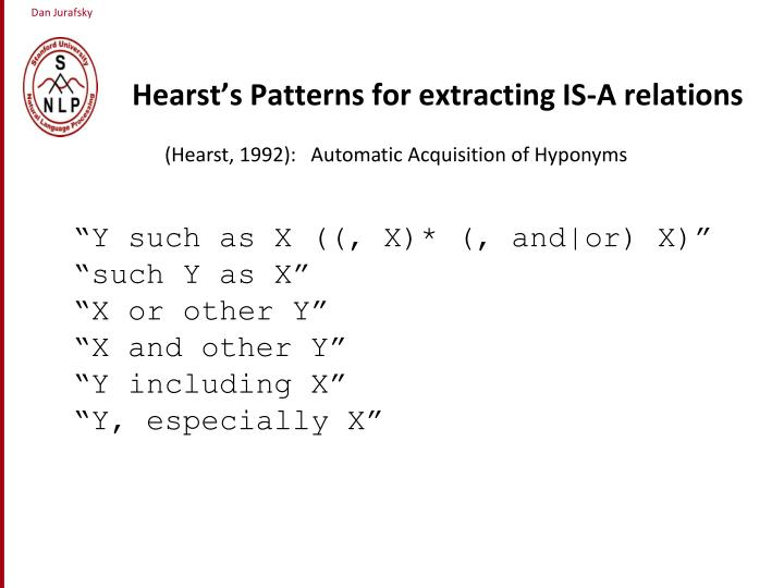 Hearst's Patterns for extracting IS-A relations