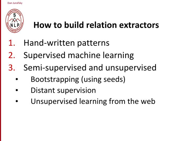 How to build relation extractors