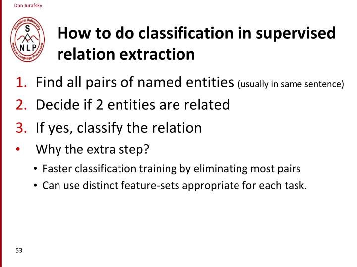 How to do classification in supervised relation extraction