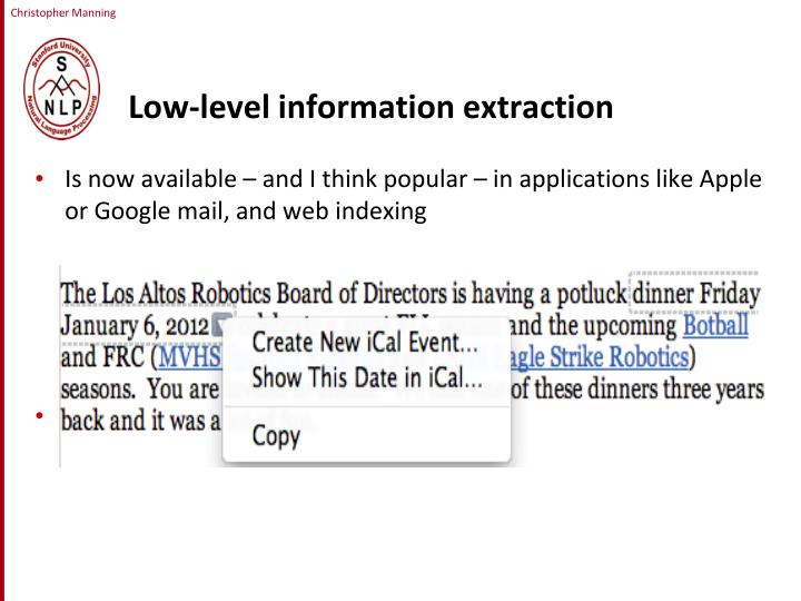Low-level information extraction