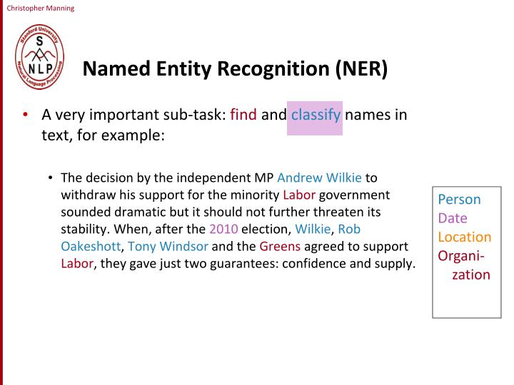 Named Entity Recognition (NER)