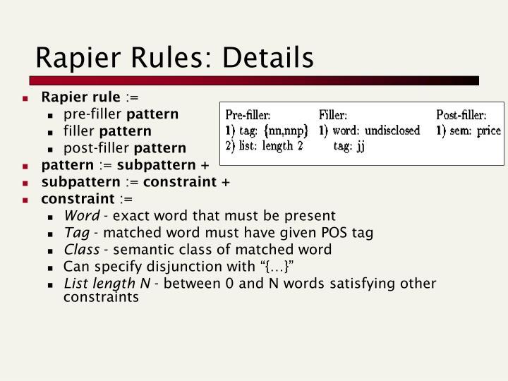 Rapier Rules: Details
