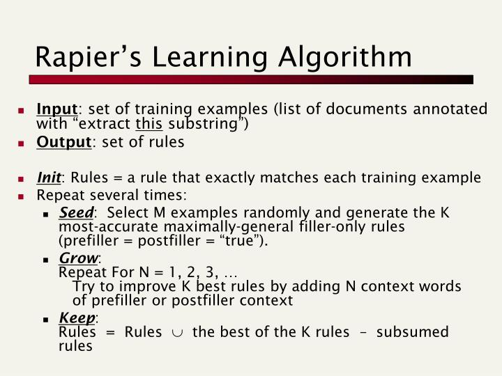 Rapier's Learning Algorithm