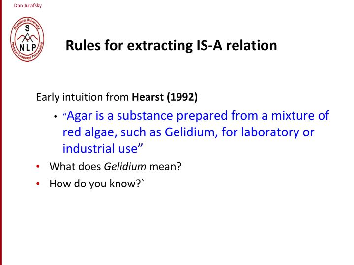 Rules for extracting IS-A relation