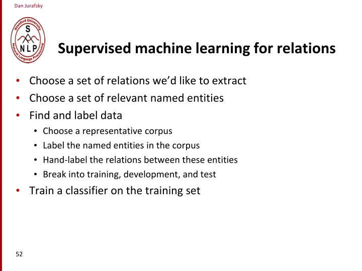 Supervised machine learning for relations