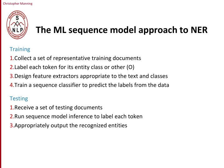 The ML sequence model approach to NER