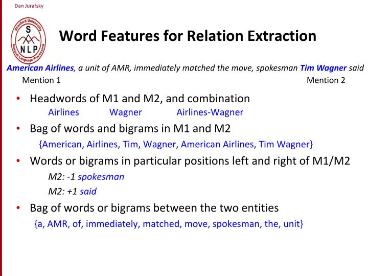 Word Features for Relation Extraction