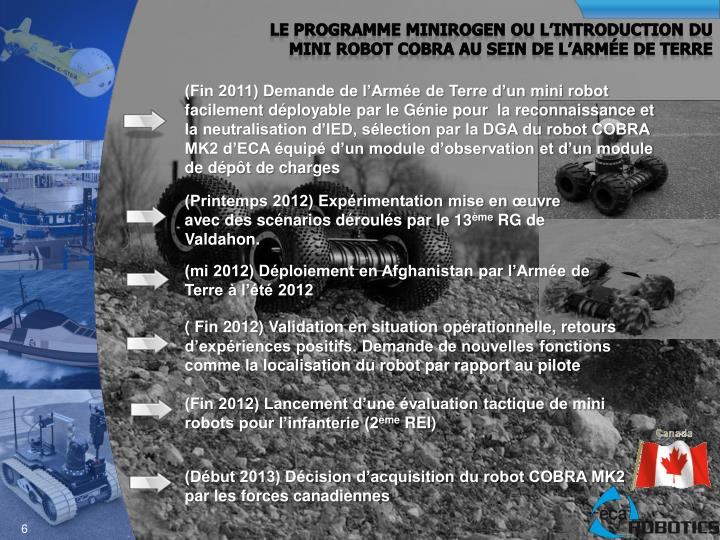 Le programme MINIROGEN OU L'introduction du mini robot Cobra au sein de l'Armée de terre