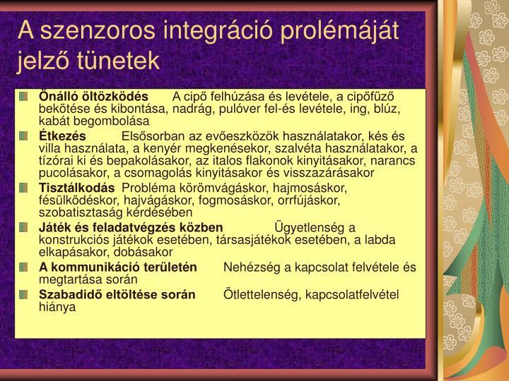 A szenzoros integrci prolmjt jelz tnetek