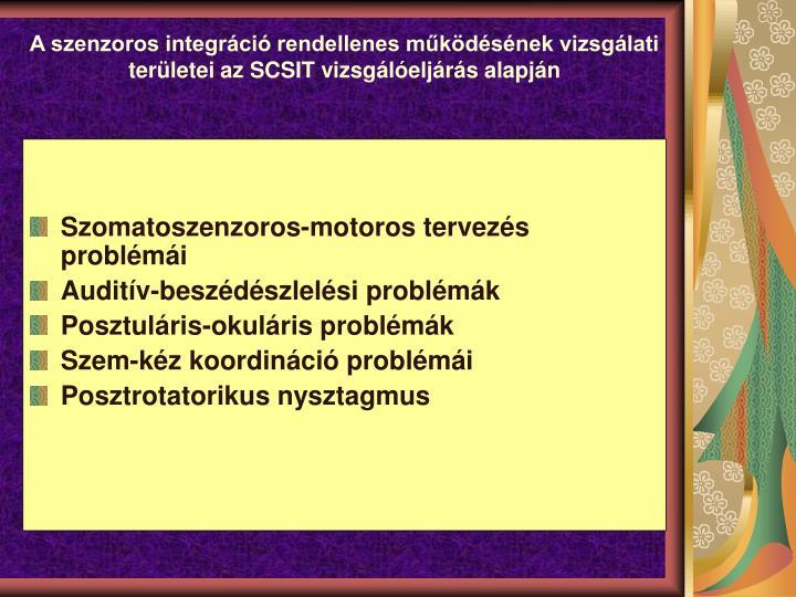 A szenzoros integrci rendellenes mkdsnek vizsglati terletei az SCSIT vizsgleljrs alapjn