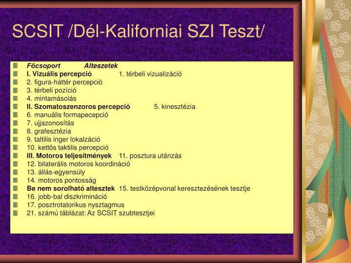 SCSIT /Dl-Kaliforniai SZI Teszt/