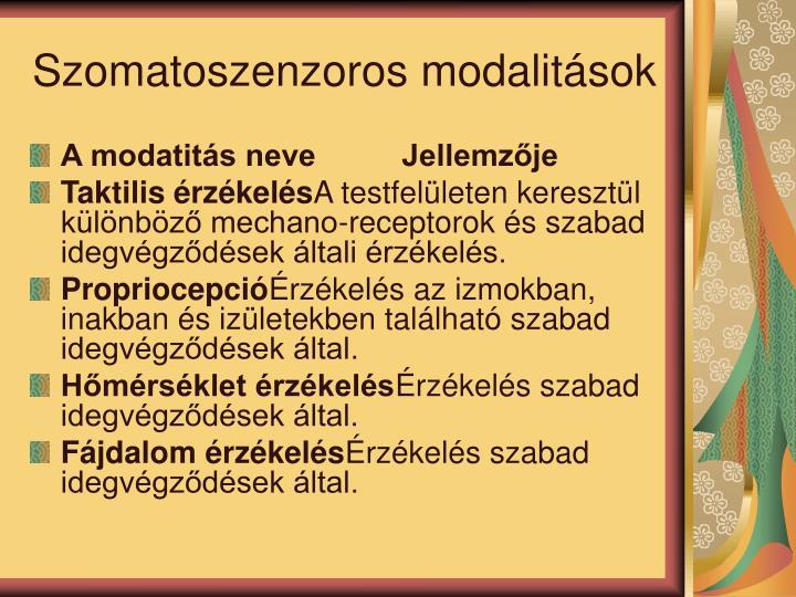 Szomatoszenzoros modalitsok