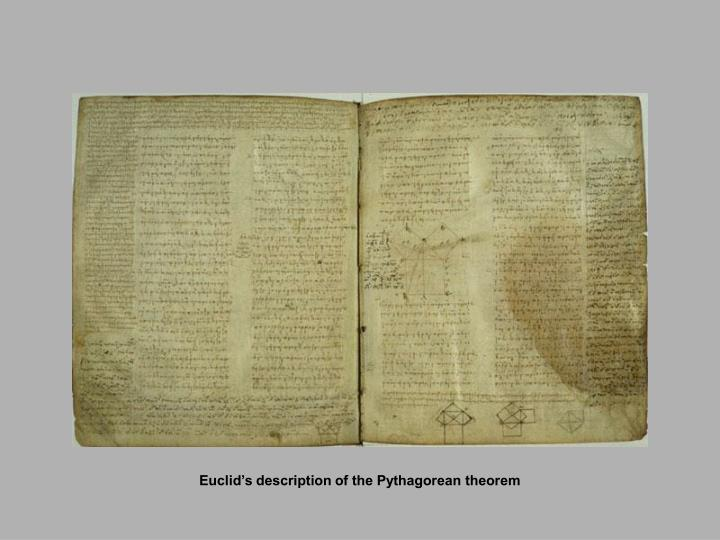 Euclid's description of the Pythagorean theorem