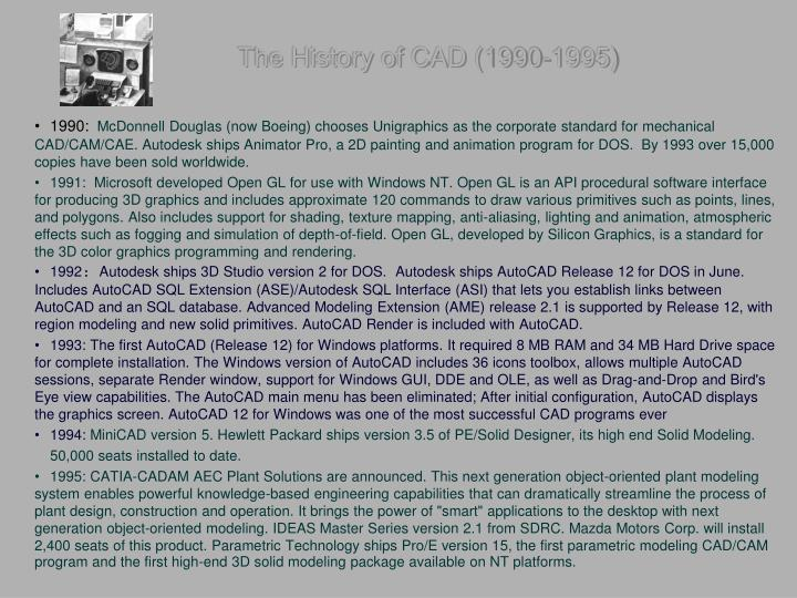 The History of CAD (1990-1995)