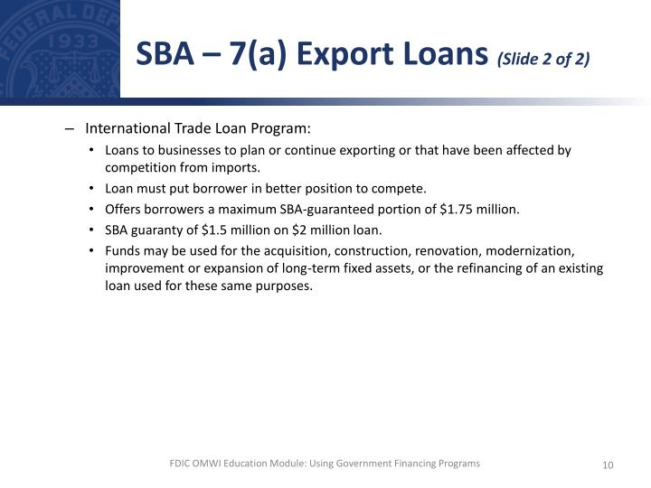 SBA – 7(a) Export Loans
