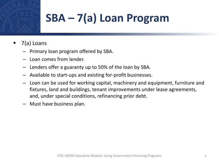 SBA – 7(a) Loan Program