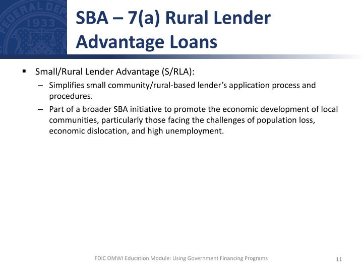 SBA – 7(a) Rural Lender Advantage Loans