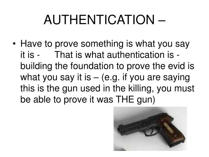 AUTHENTICATION –