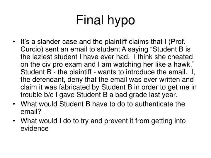 Final hypo