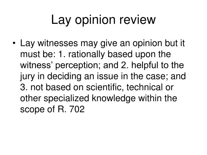 Lay opinion review