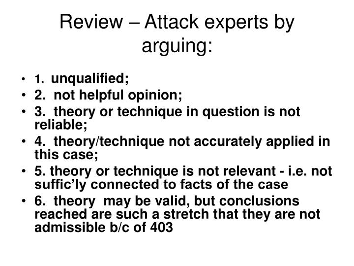 Review – Attack experts by arguing: