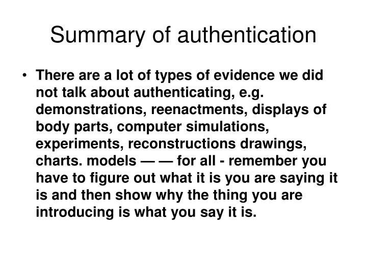 Summary of authentication