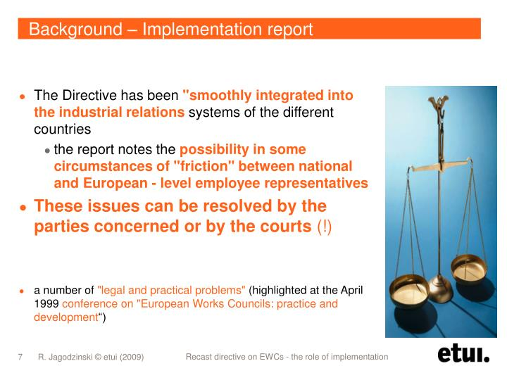 Background – Implementation report