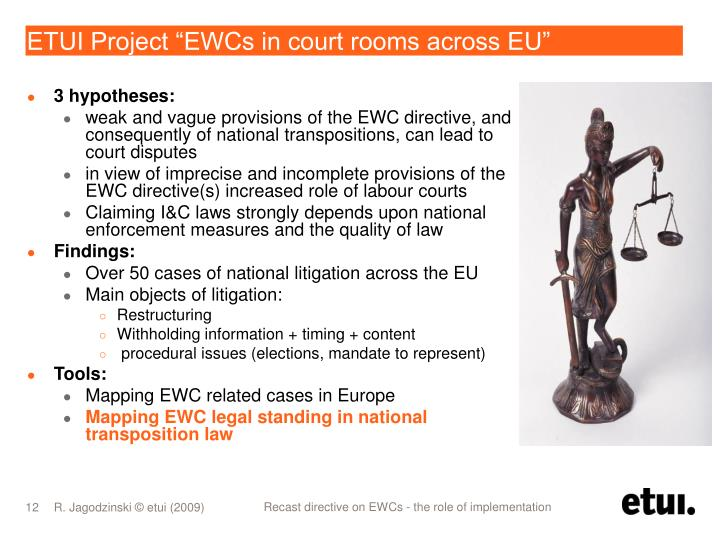 "ETUI Project ""EWCs in court rooms across EU"""