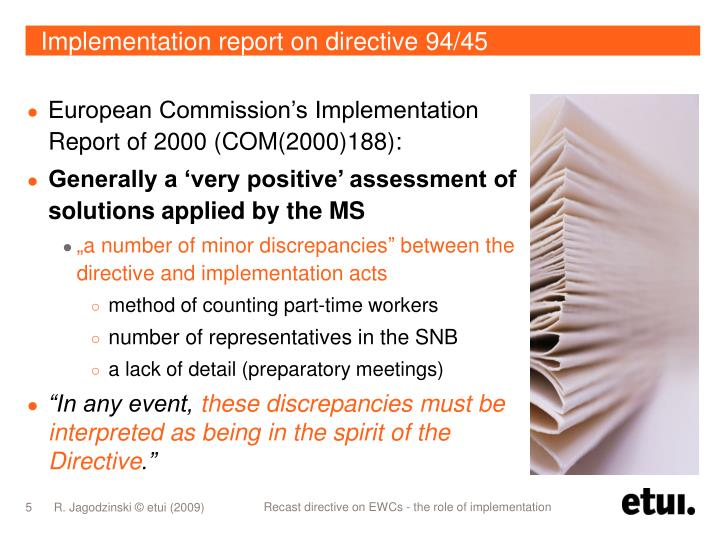 Implementation report on directive