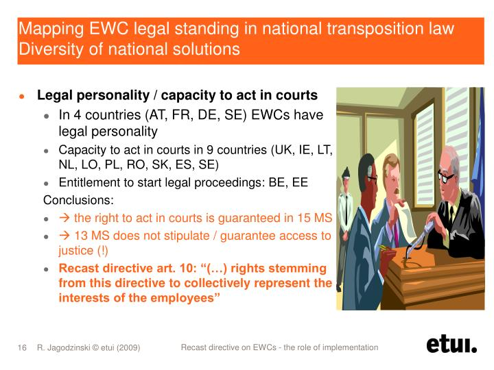 Mapping EWC legal standing in national transposition law