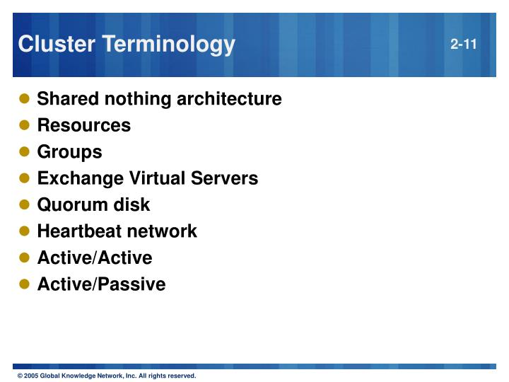 Cluster Terminology