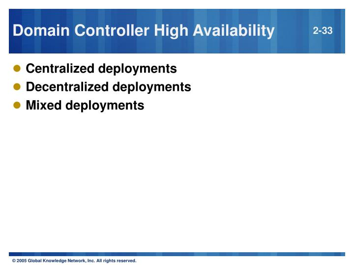 Domain Controller High Availability