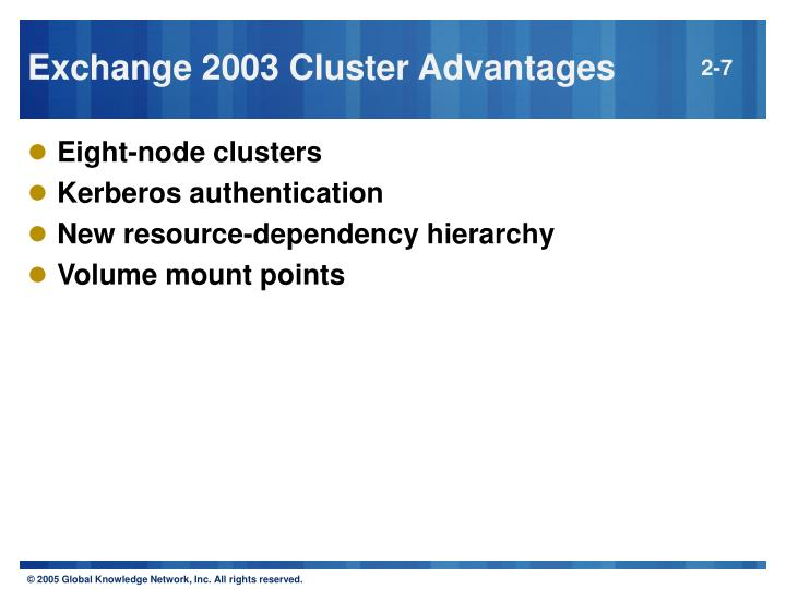 Exchange 2003 Cluster Advantages