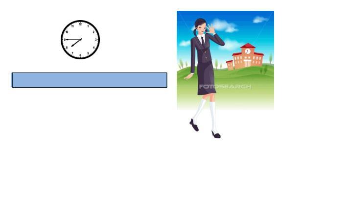 Sie geht in die Schule um Viertel vor acht.
