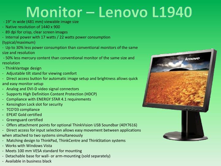 Monitor – Lenovo L1940